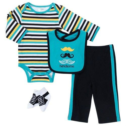 Baby Gear Baby Boys 4-pc. Mustache Layette Set