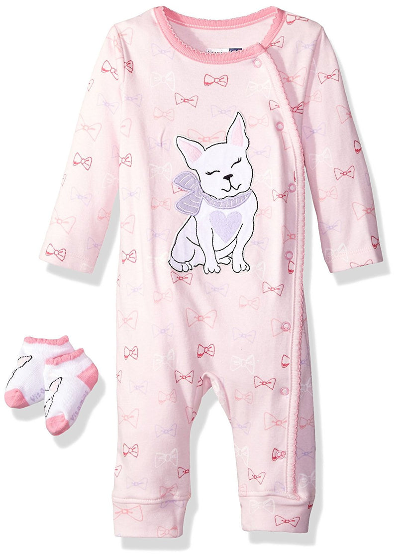 Vitamins Baby Girls Pink 2 Piece Coverall Set
