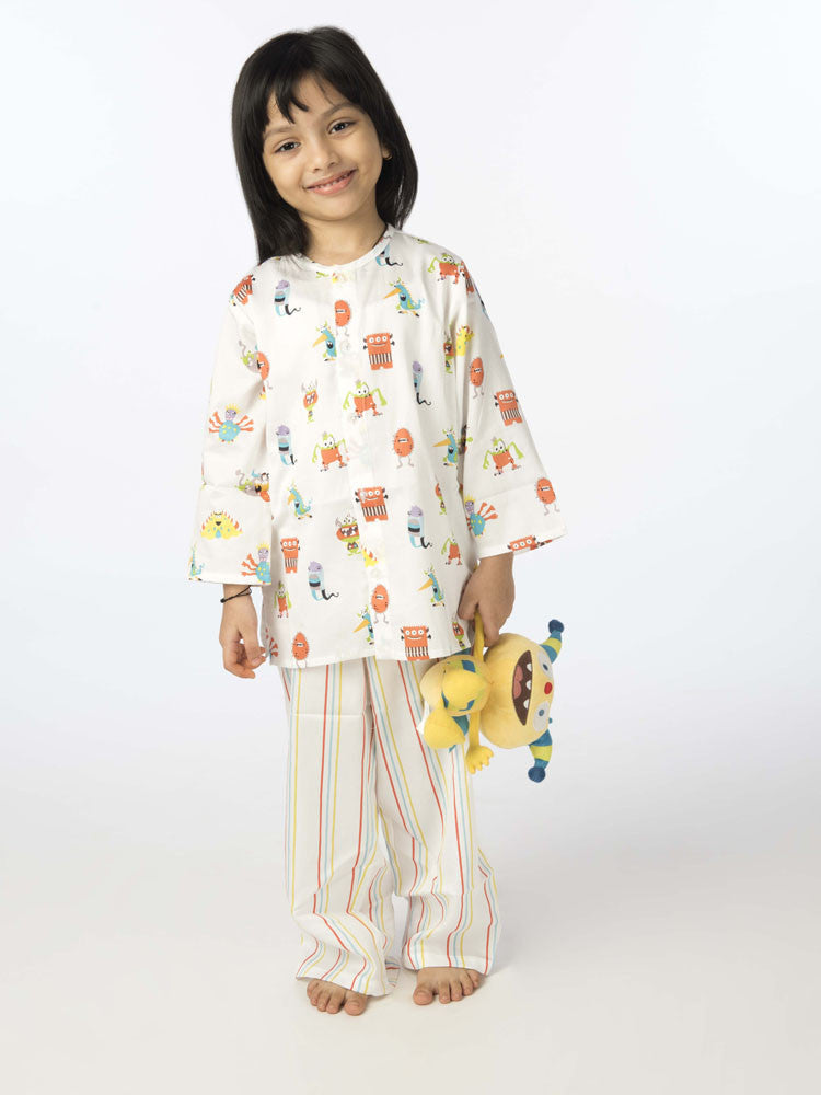 Popsicle & Nigh Nigh Girls Off White Monster Printed Night Wear
