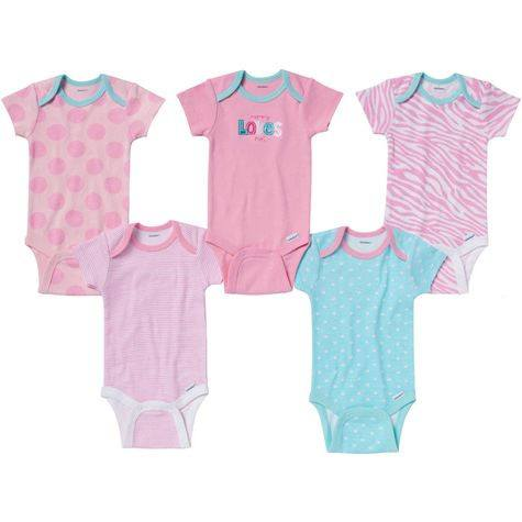 Gerber Girls 5 Pack Mommy Loves Me Onesies