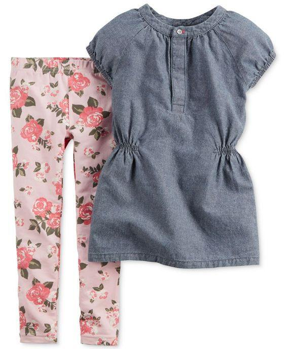 Carter's Baby Girls' 2-Piece Chambray Tunic & Leggings Set