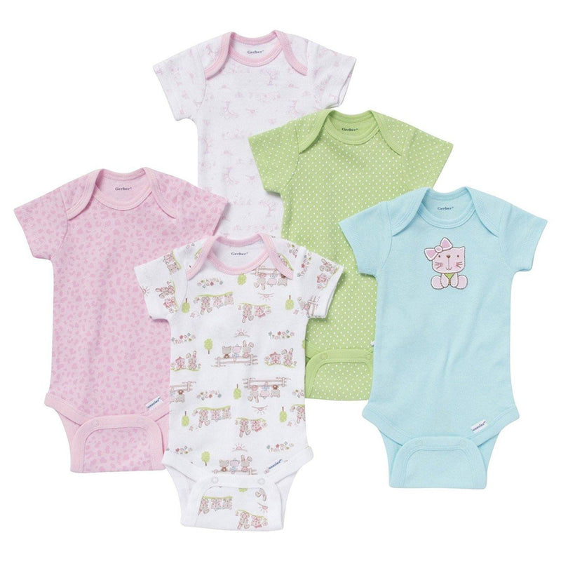 Gerber Baby Girls' 5 Pack Onesie set - Kitty & Bunny
