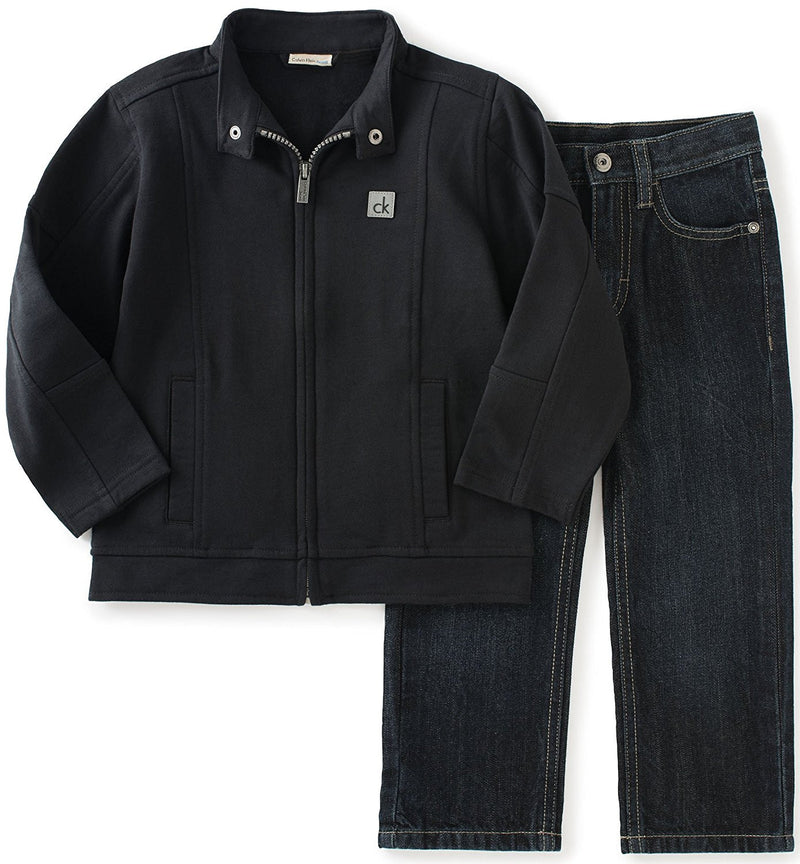Calvin Klein Boys Black Zip-Front Jacket with Jeans
