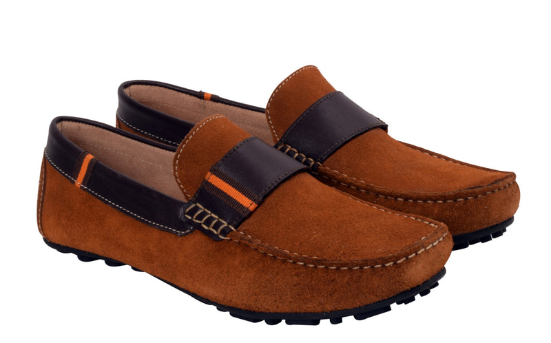 Careeno Cira Boys' Tan Suede Leather Loafers