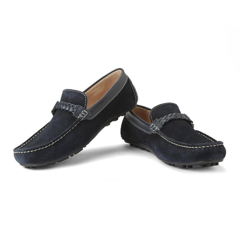 Careeno Cecilio Navy Blue Suede Leather Loafers