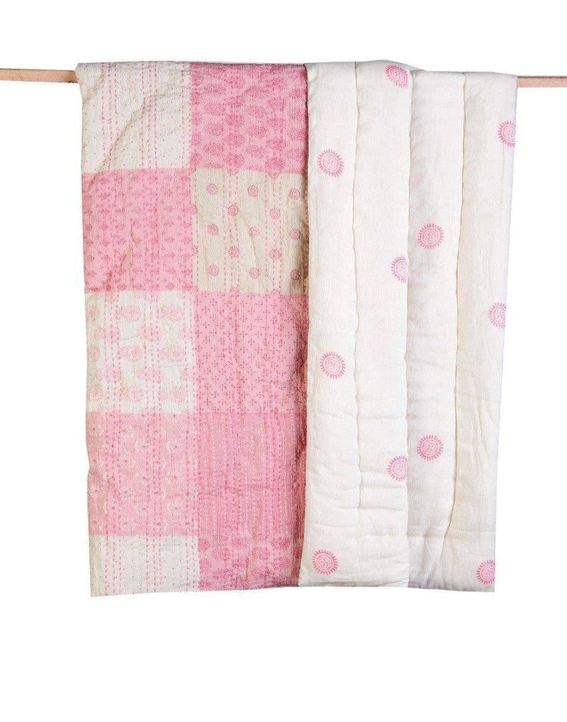 Pink Patchwork Baby Kantha Quilt