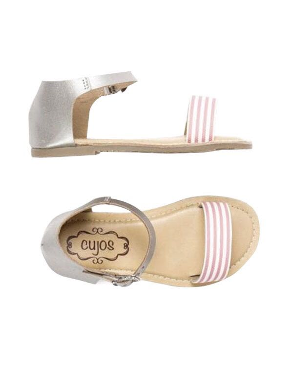 Cujos Elda Striped Strap With Buckle Closure Sandals - Silver