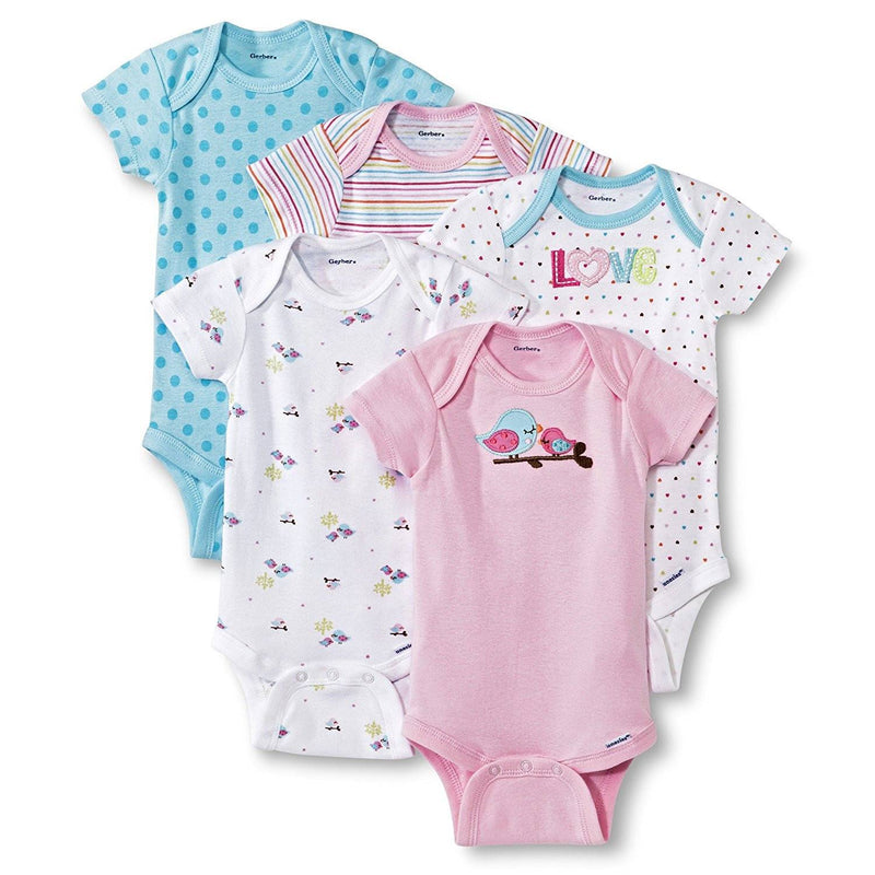 Gerber Baby Girls' 5 Pack Onesie set - Birds