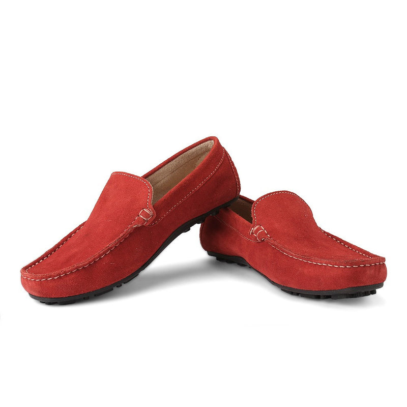 Careeno Cireo Red Suede Leather Loafers