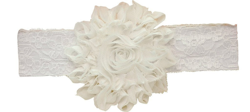 AkinosKIDS White Big Shabby Flower Netted Headband