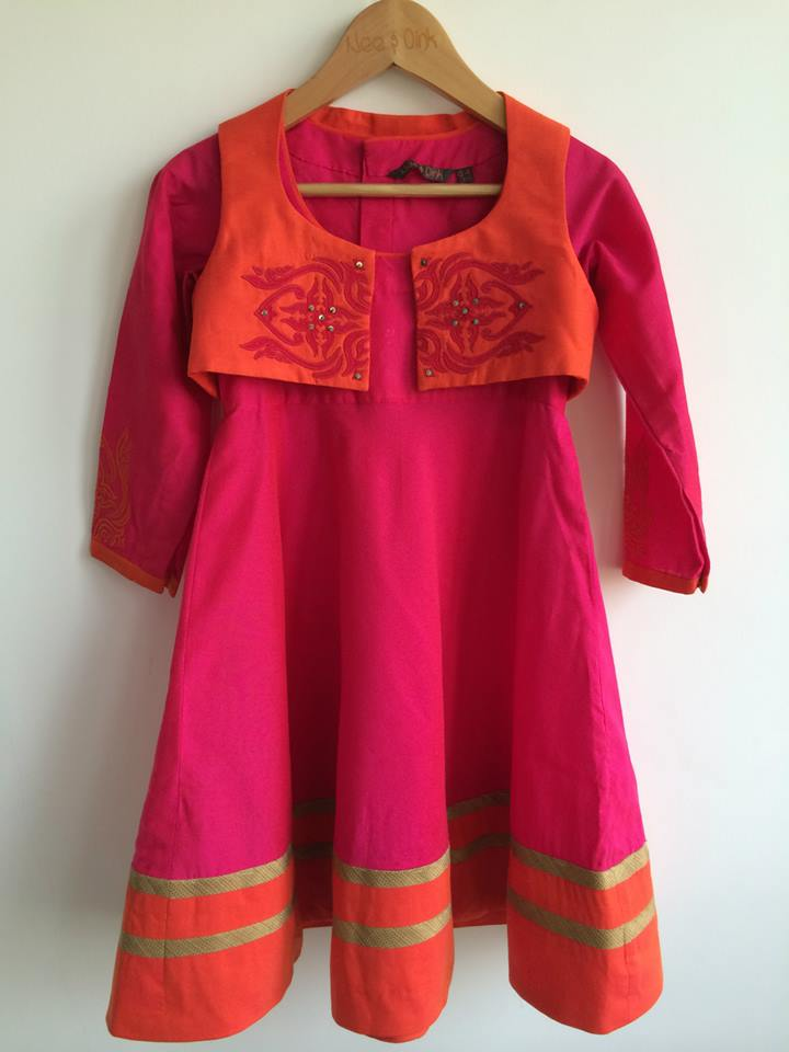 Fuchsia Applique Jacket Anarkali from Nee & Oink