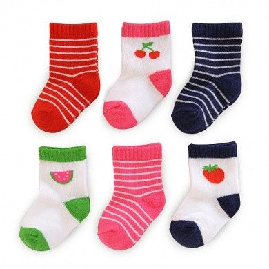 Girl-6-Pack-Fruit-Stripe-Print-Socks