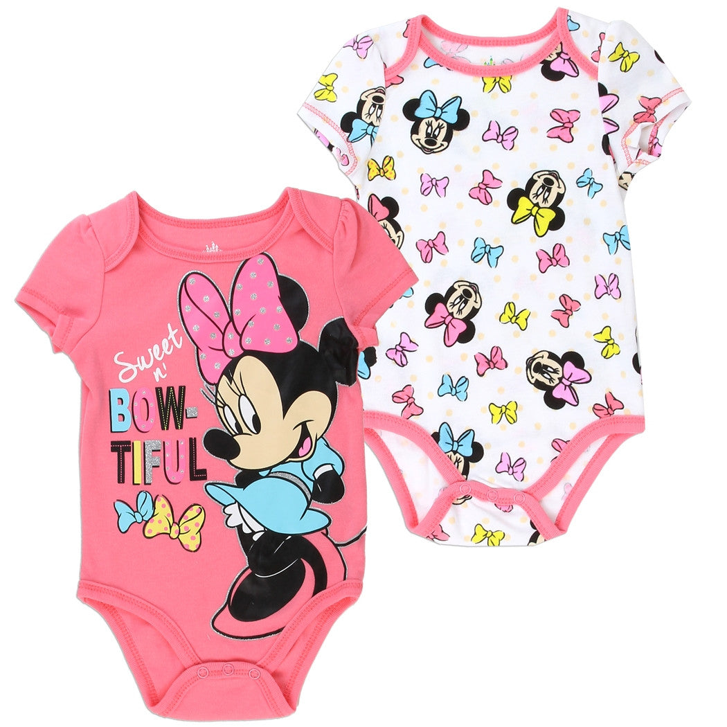 51bce7cb8 Disney Baby Pink and White Girls' Minnie Mouse Sweet n' Bow-tiful 2 Piece Creeper  Set. 1