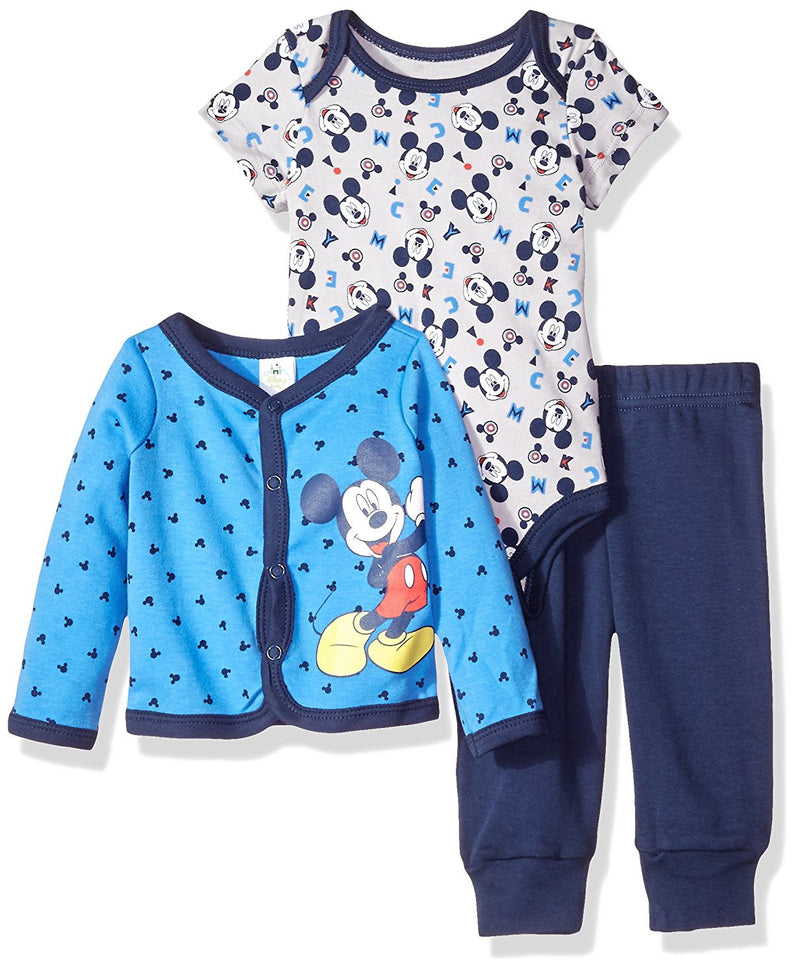Disney Boys Blue and Grey Mickey Mouse Cardigan Set
