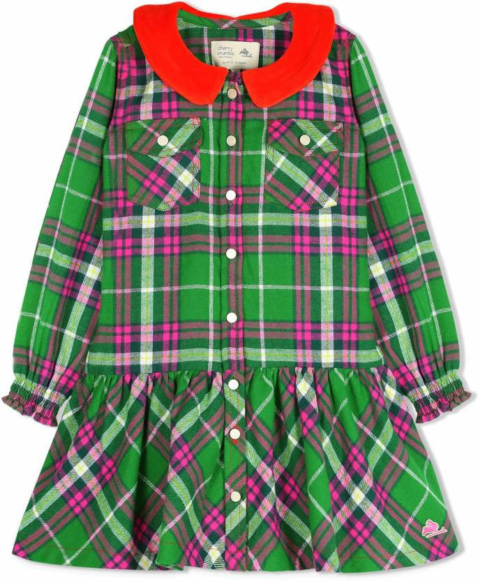 Cherry Crumble California Green and Orange Flannel-Lurex With Velour Collar Dress