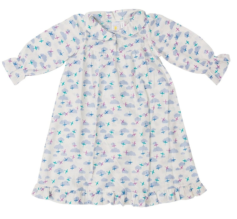 Little Bum Cotton Nightgown for Baby Girls - Clouds and Planes