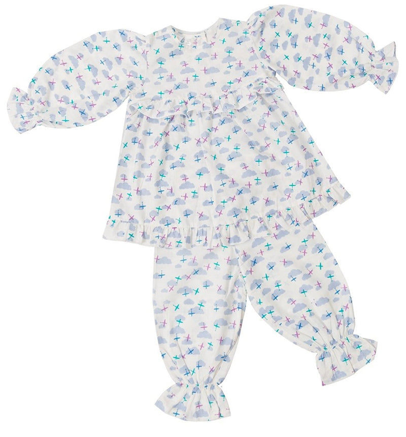 Little Bum Cotton Sleepwear Pajama Set for Baby Girls - Clouds and planes