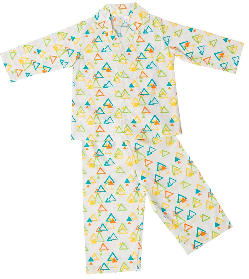 Little Bum Cotton Sleepwear Pajama Set - Colorful Triangles