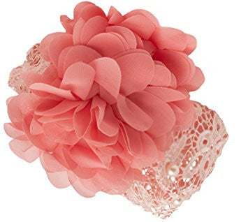 AkinosKIDS Peach Posh Pearl and Flower Headband