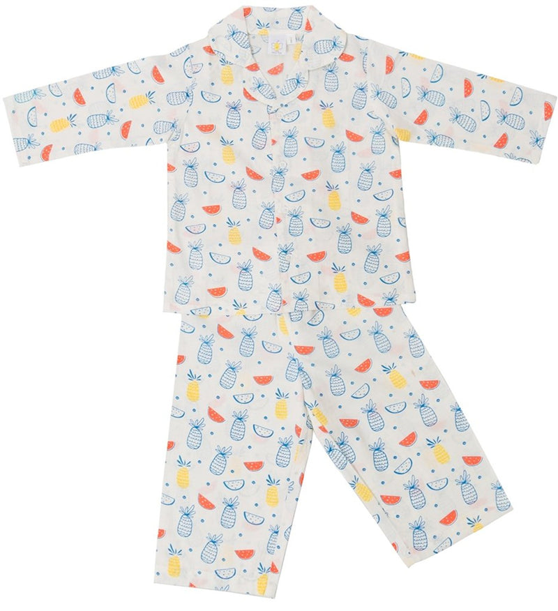 Little Bum Cotton Sleepwear Pajama Set for Baby Girls - Colorful Triangles