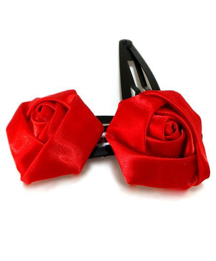 Aayera's Nest Red Satin Rose Tic Tac Clips