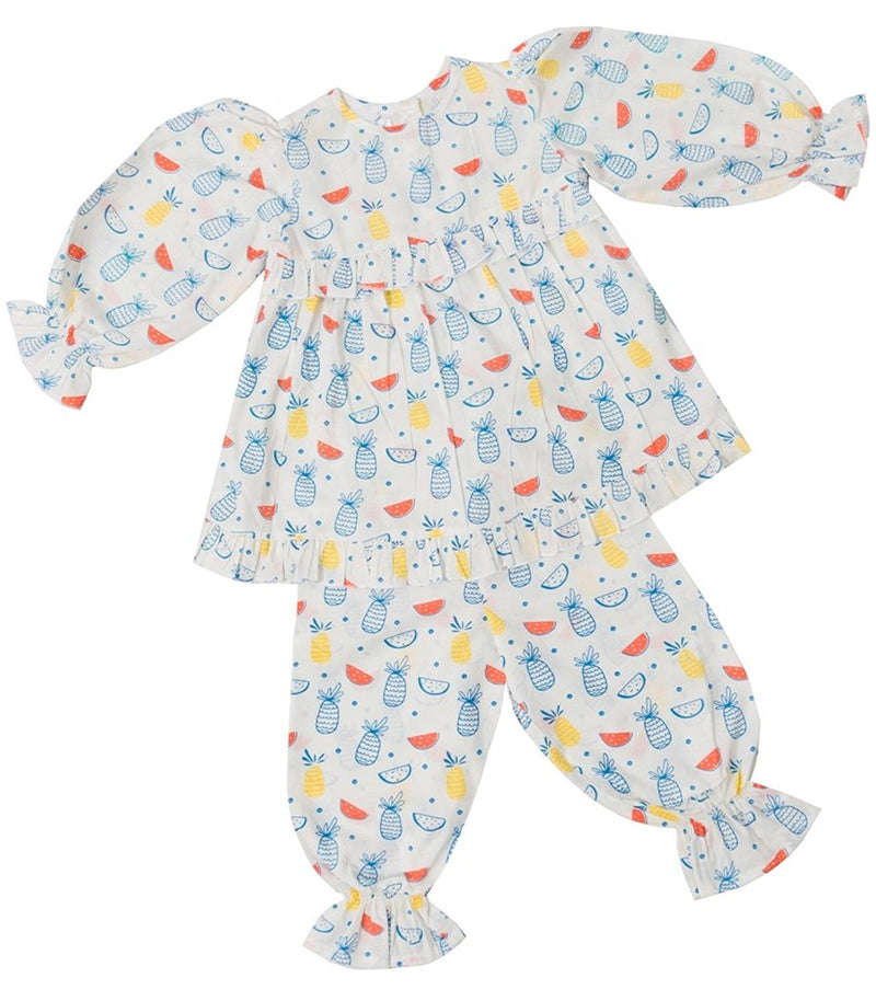 Little Bum Cotton Sleepwear Pajama Set for Baby Girls - Colorful Fruits