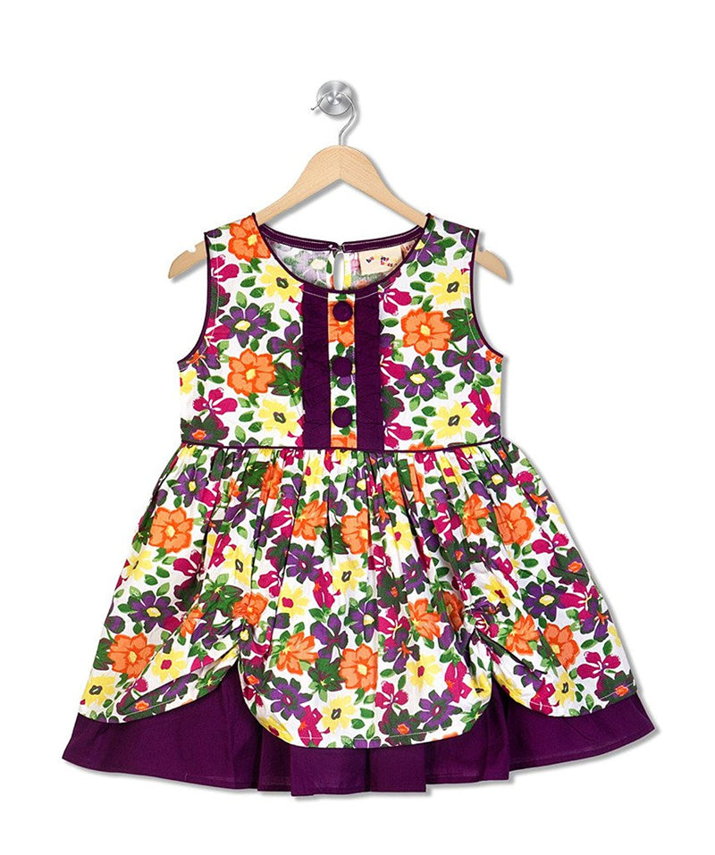 Budding Bees Girls Purple Floral Printed Layered Dress