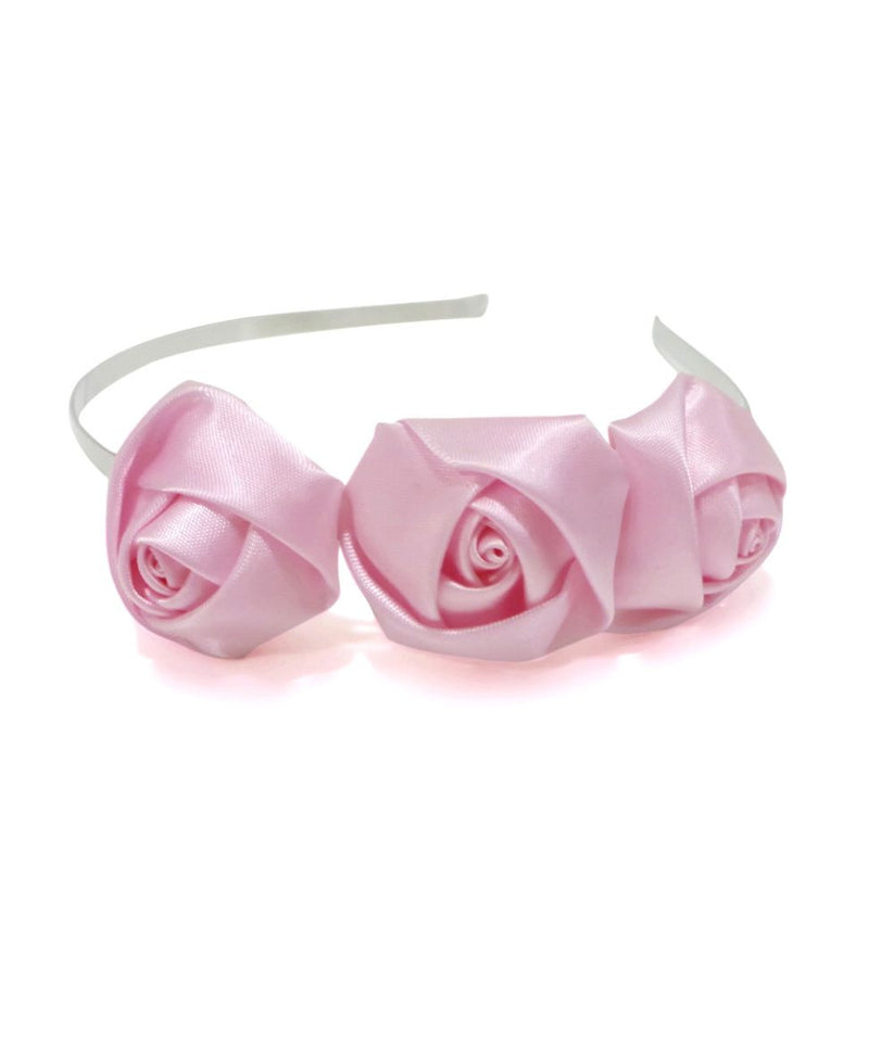 Aayera's Nest Pink Satin Rose Hairband