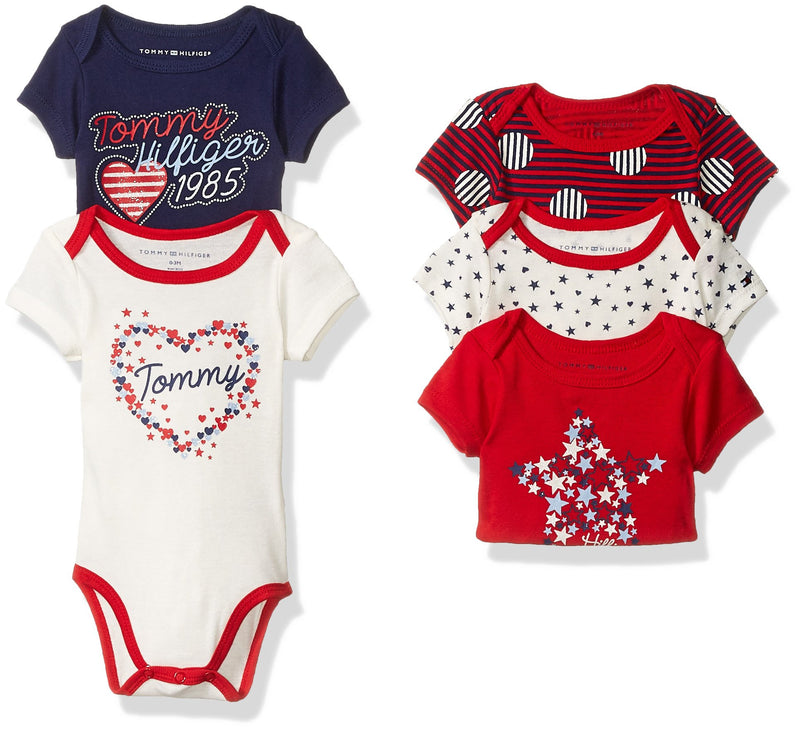 Tommy Hilfiger Baby Girls' Printed Bodysuits - Pack of 5