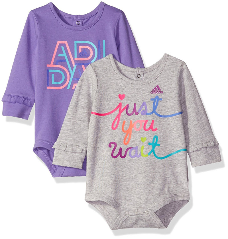 Adidas Baby Girls' Logo Pack of 2 Bodysuits