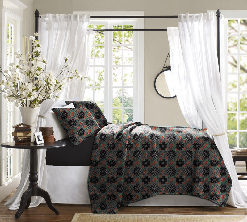 Haus & Sie Mughal Rose Black Bed in a Bag Bedding Set