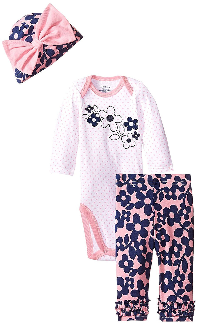 Gerber Baby Girls Bodysuit, Cap and Pant Set