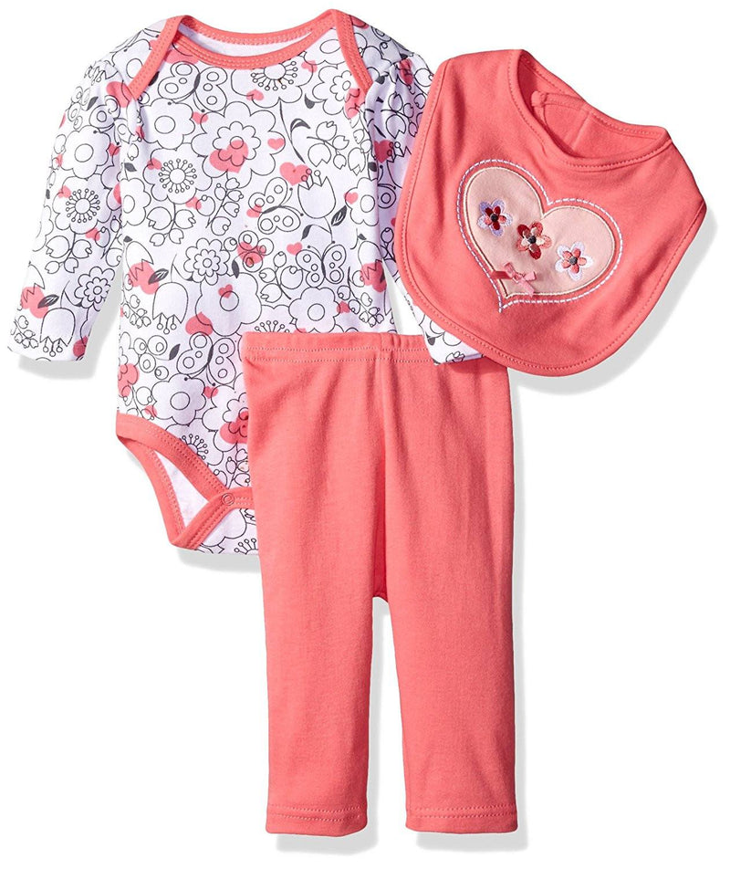 BON BEBE Baby Girls' 3 Piece Set with Longsleeve Bodysuit Bib and Turn-Me-Round Legging