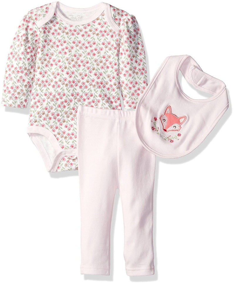 Rene Rofe Baby Girls' 3pc Turn-Me-Round-Set with Long Sleeve Bodysuit, Bib and Pant