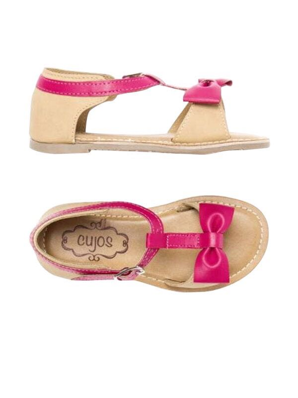 Cujos Avila T-Strap With Bow Sandals - Pink