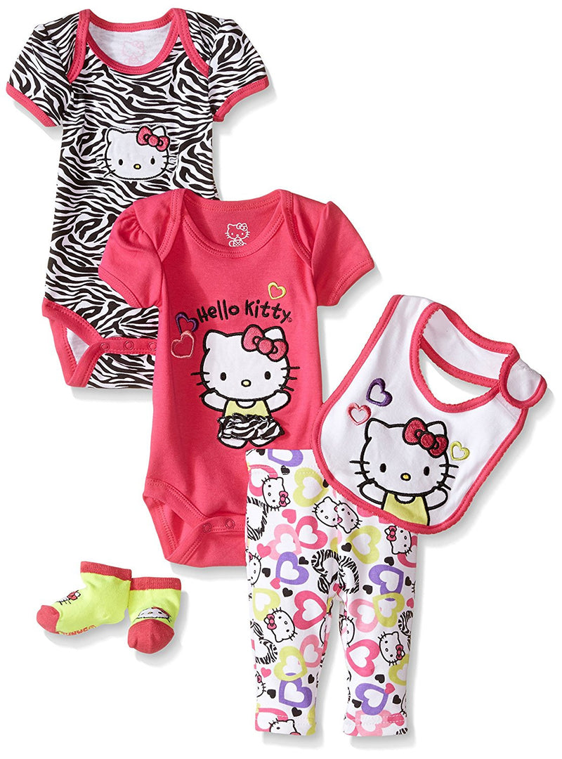 Hello Kitty Baby Girls' 5 Piece Gift Set with Zebra Heart Print