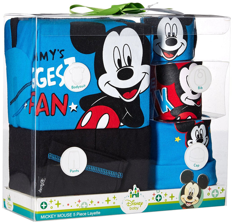 Disney Boys Blue and Black Mickey Mouse 5 Piece Layette Box Set