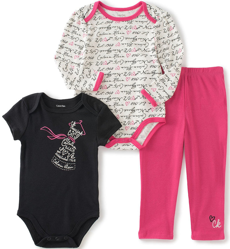 Calvin Klein Baby Girls' 3 Piece Creeper Pants Set