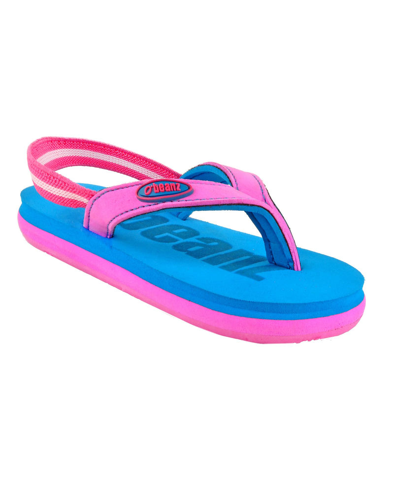 Beanz Carlin Blue and Pink Flip Flops With Back Strap