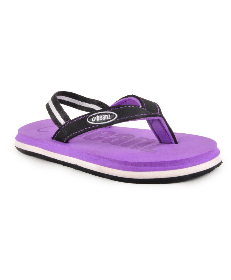 Beanz Carlin Purple and Black Flip Flops With Back Strap