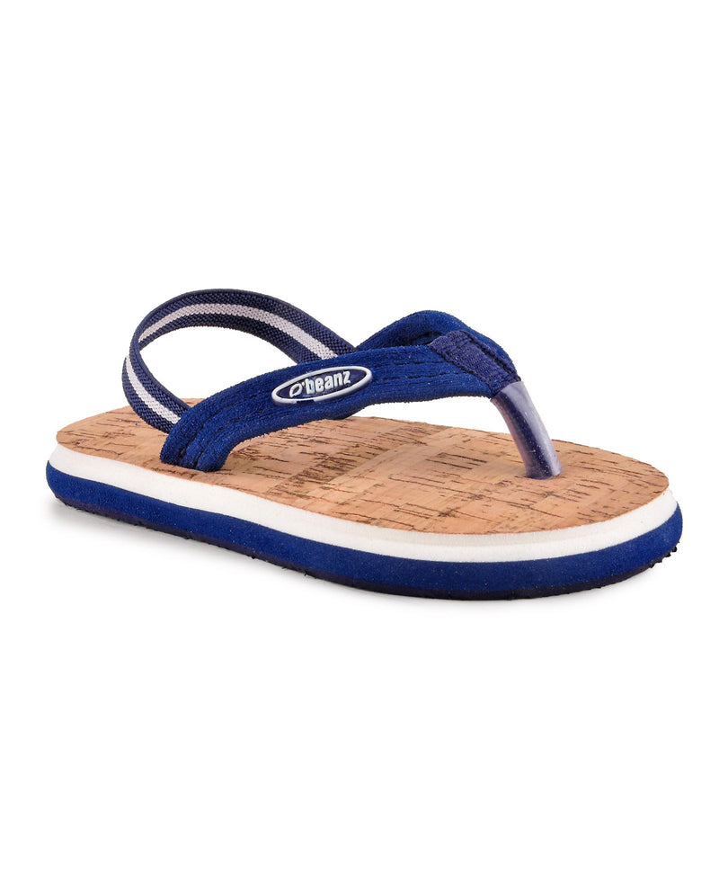 Beanz Domnic Navy Blue and Sand Brown Flip Flops With Back Strap