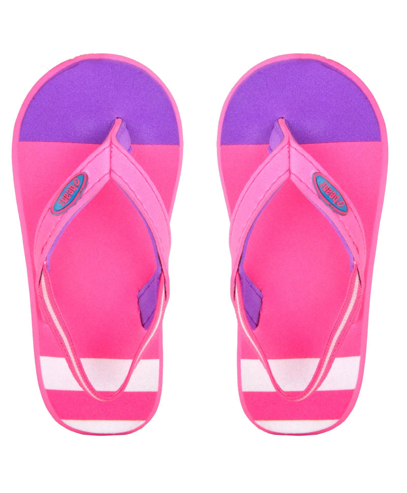 Beanz Regina Baby Pink and Purple Flip Flops With Back Strap