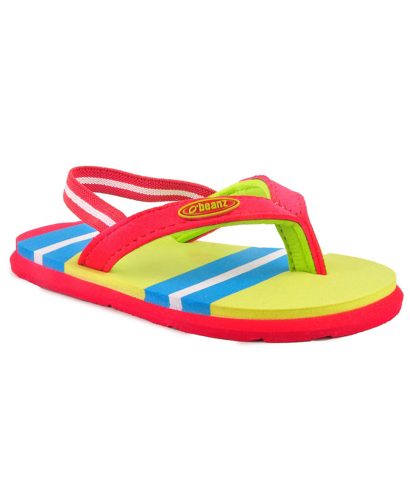 Beanz Regina Radar Yellow and Red Flip Flops With Back Strap