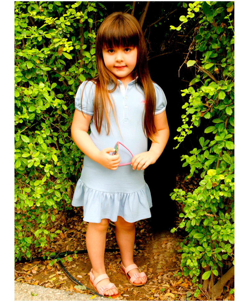 Cherry Crumble California Blue and White Soft Organic Cotton Polo Dress