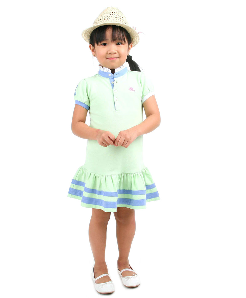 Cherry Crumble California Blue and Green Soft Organic Cotton Polo Dress