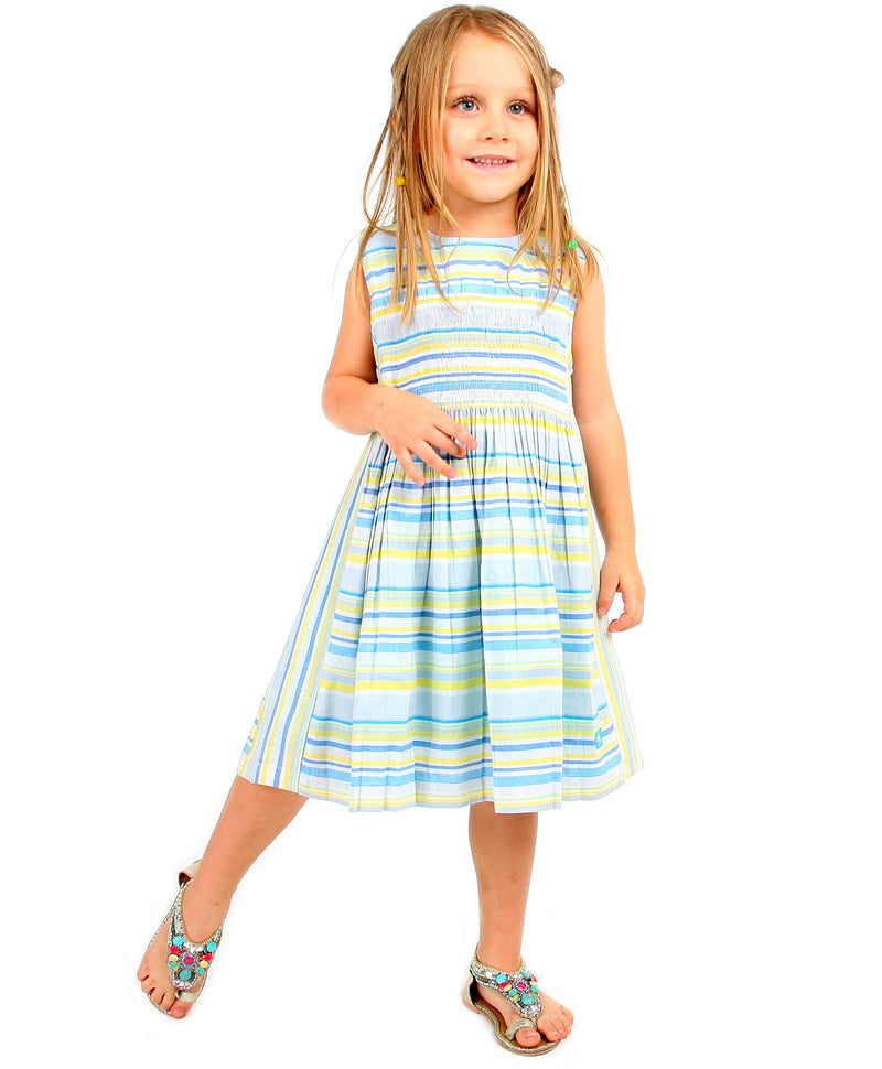 Cherry Crumble California Blue, Yellow and Green Smocked Dress