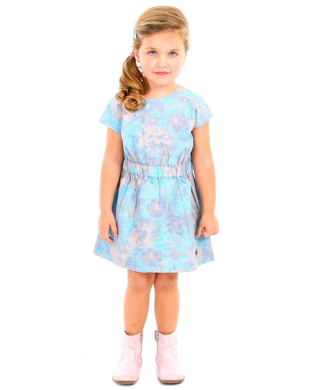 Cherry Crumble California Blue and Peach Fit N Flare Printed Dress
