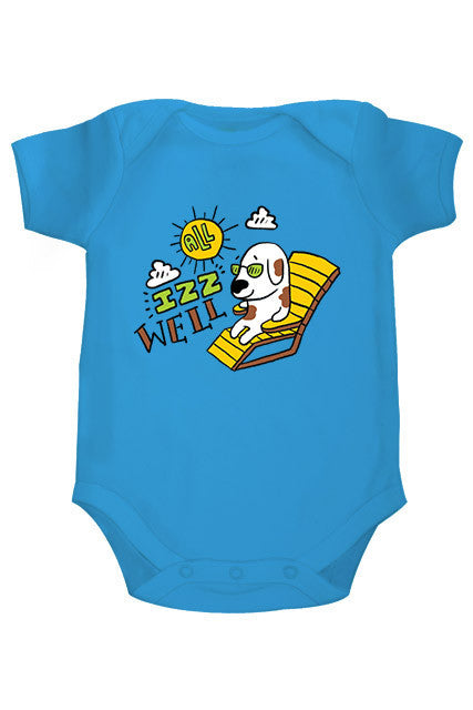 Zeezeezoo Kids Blue All Izz Well Printed Onesie