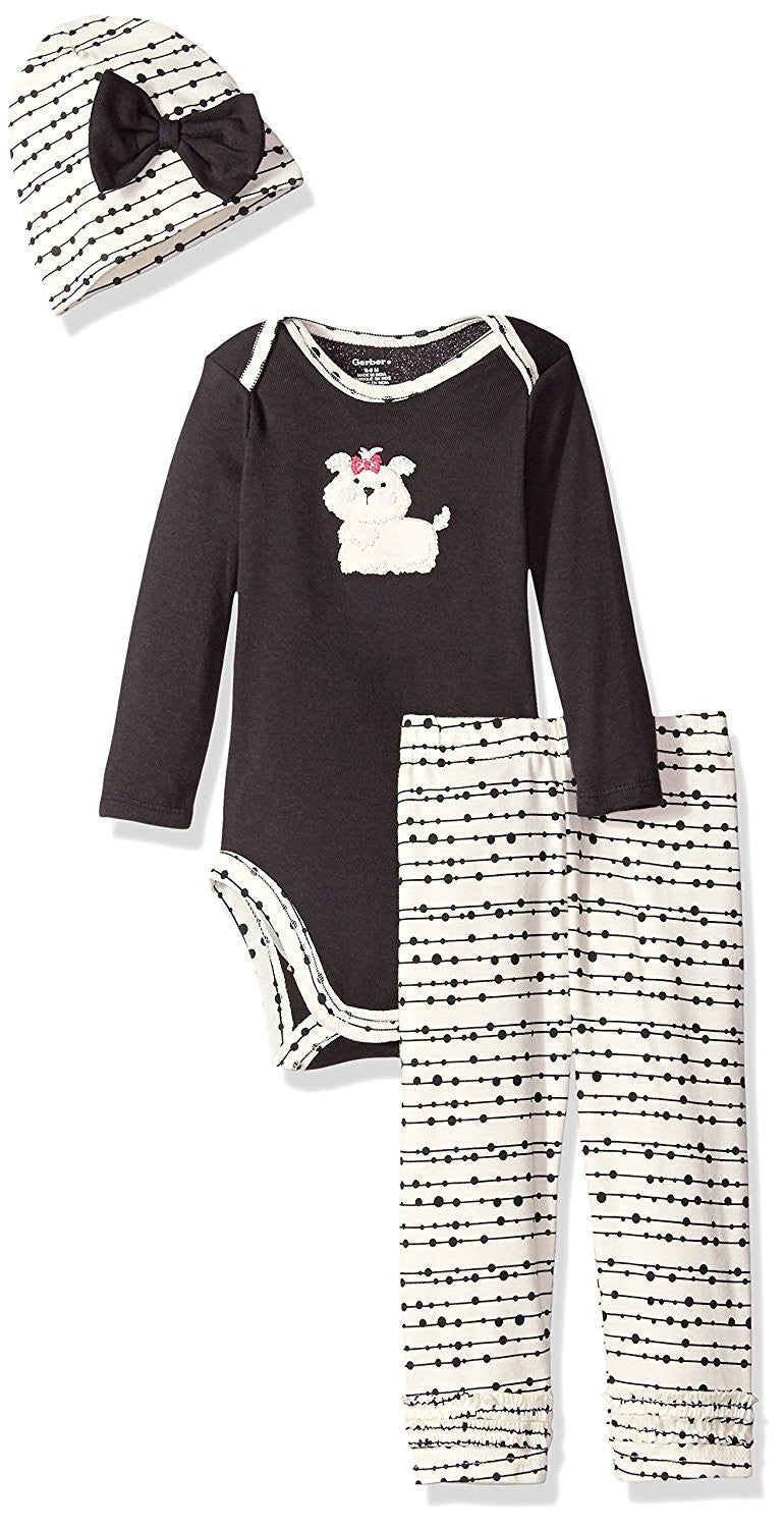 Gerber Girls White and Brown Puppy Print 3 Piece Bodysuit Set