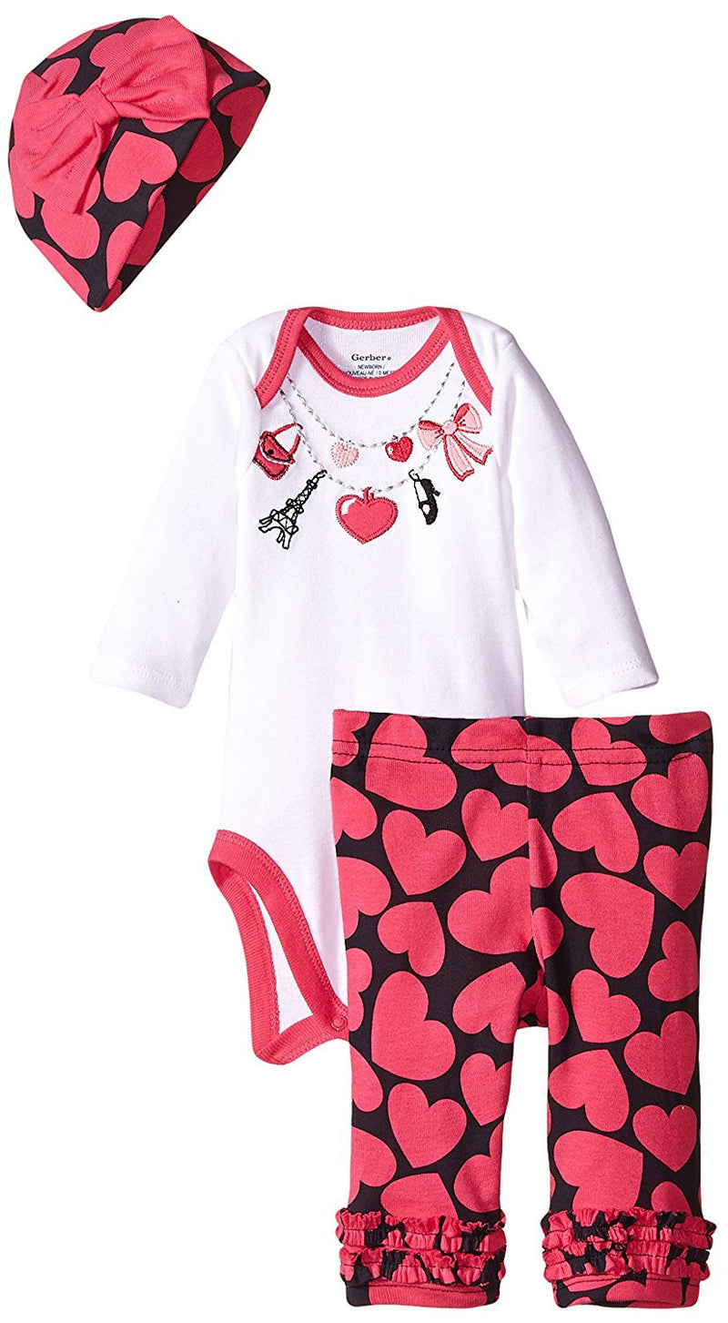 Gerber Girls Pink and White Necklace Print 3 Piece Bodysuit Set